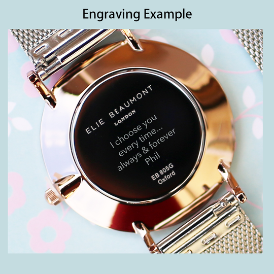 Personalised Elie Beaumont Small Rose Silver Ladies Watch