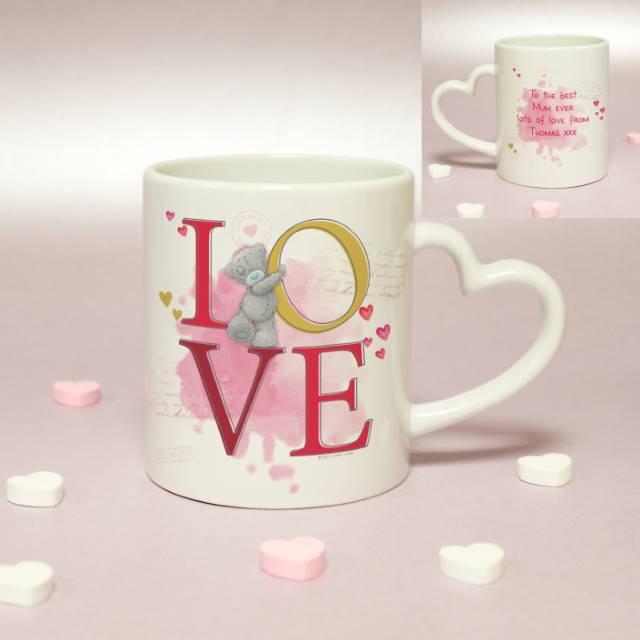 Personalised Me To You 'LOVE' Heart Handled Mug