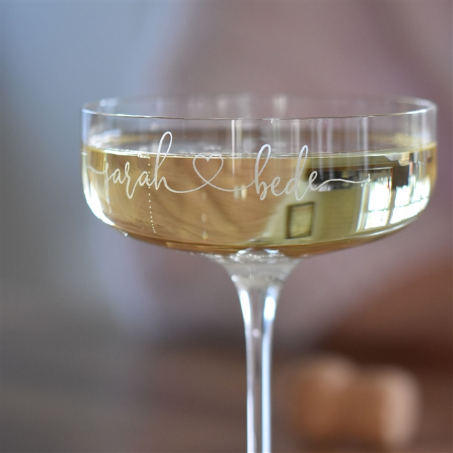 Personalised 'Couples' Champagne Coupe Glass