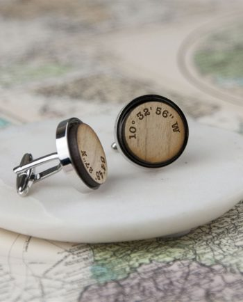 Personalised 'Your Coordinates' Wooden Cufflinks