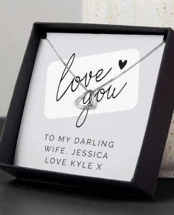 Personalised Sentiment Love You Silver Tone Necklace and Gift Box