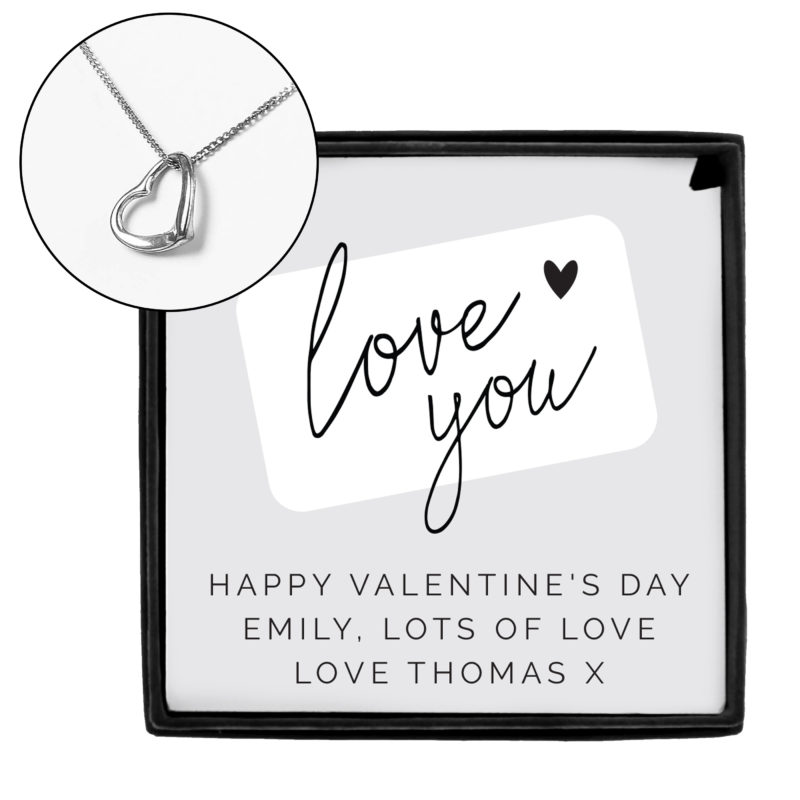 Personalised Love You Silver Tone Necklace and Sentiment Box