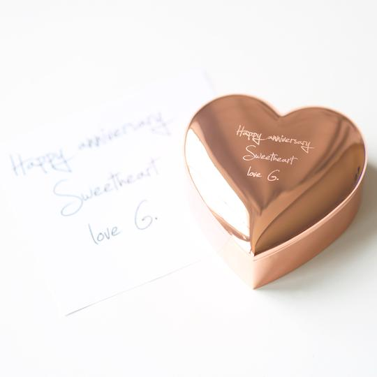 Personalised Own Handwriting Rose Gold Heart Keepsake Box