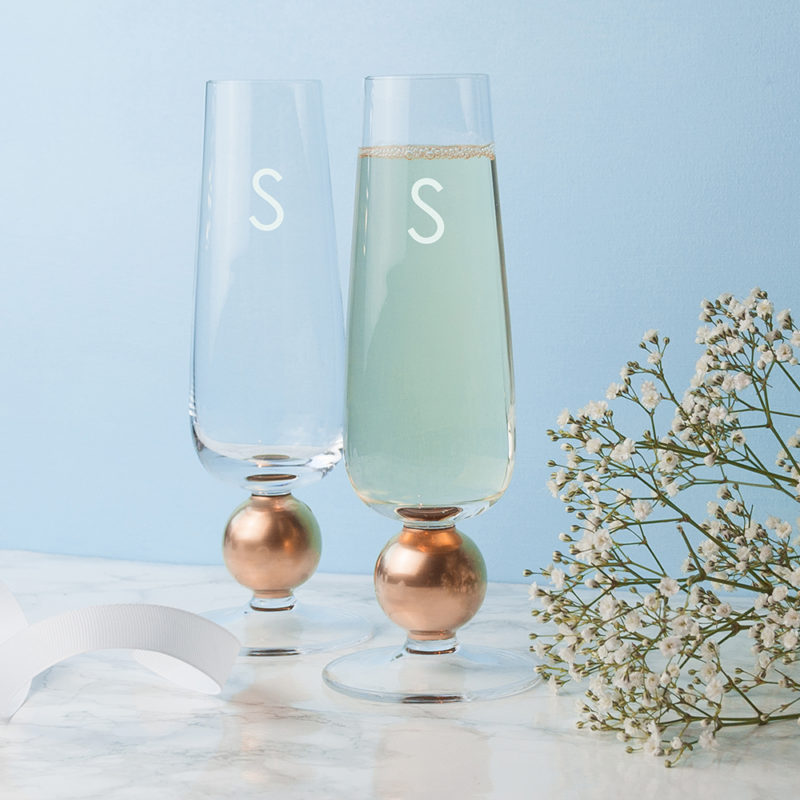 Personalised Set Of Two LSA Rose Gold Champagne Glasses