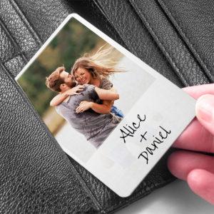 Personalised 'Moment in Time' Metal Wallet Photo Keepsake