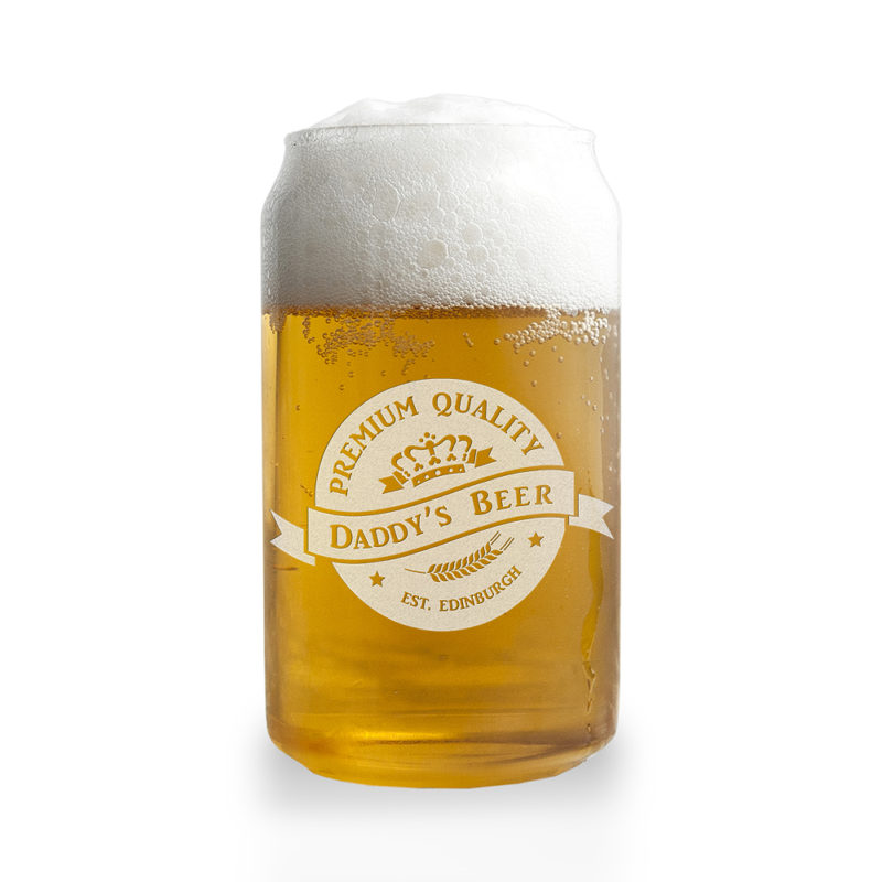 Personalised 'Premium Quality Beer' Can Glass