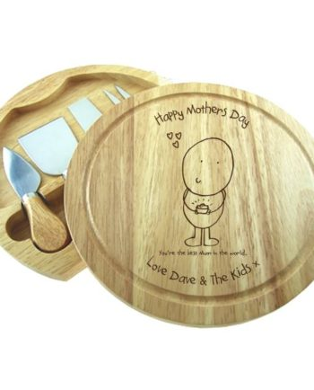 Personalised Chilli & Bubbles Mothers Cheese Board & Knives Set