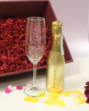 Gold Bottega Prosecco & Personalised Flute Set