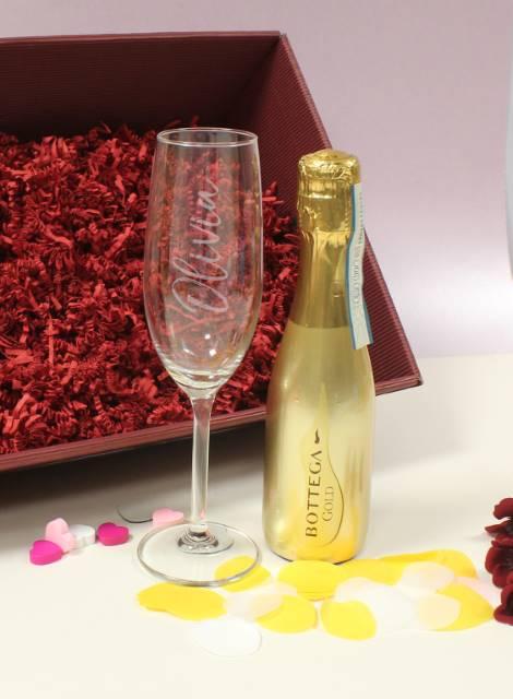 Gold Bottega Prosecco & Personalised Flute Set