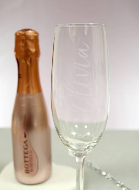 Rose Gold Bottega Prosecco & Personalised Flute Glass Gift Set