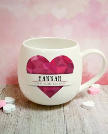 Personalised Geometric Pink Heart Mug