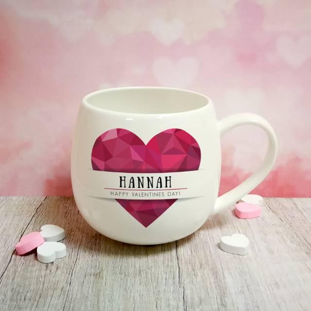 Personalised Geometric Pink Heart Mug