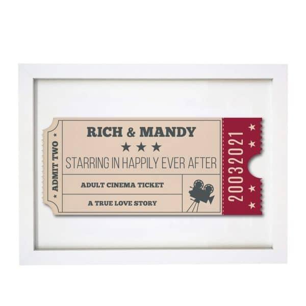 Personalised Cinema Ticket A4 Framed Print