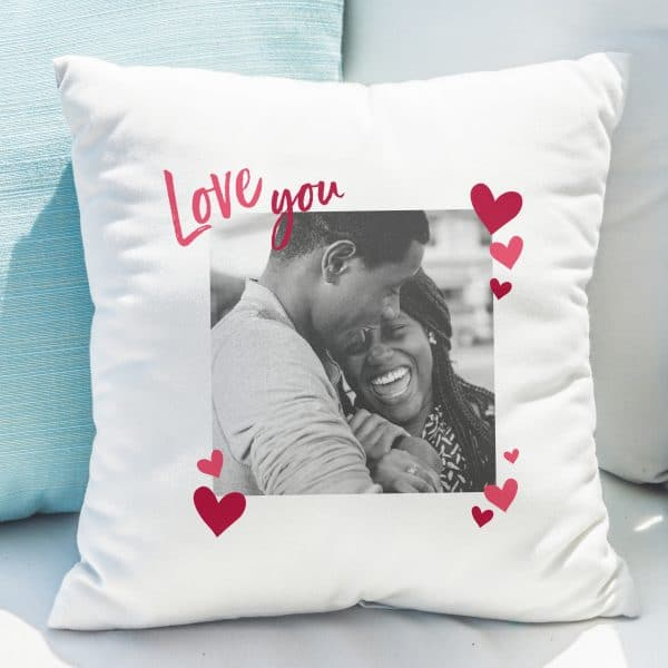 Personalised 'Love You' Photo Upload Cushion