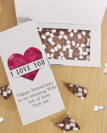 Personalised Geometric Heart Milk Chocolate Card