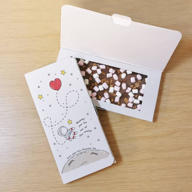 Personalised 'Out Of This World' Milk Chocolate Card