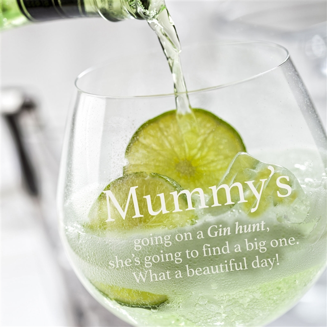 Personalised 'Going on A Gin Hunt' Glass
