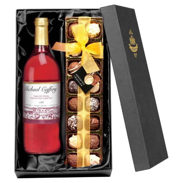 Personalised Rosé Wine & Chocolate Truffles