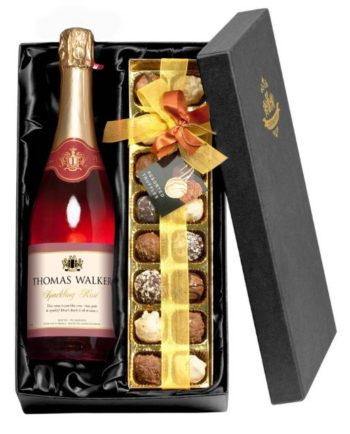 Personalised Rosé Wine & Chocolates