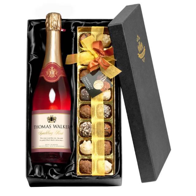 Personalised Rosé Wine & Chocolates