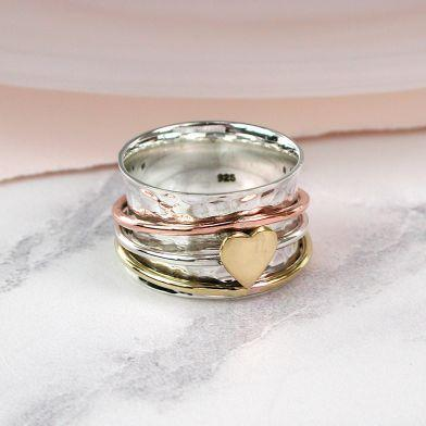 Sterling Silver Trio Spinning Ring With Sentiments Card