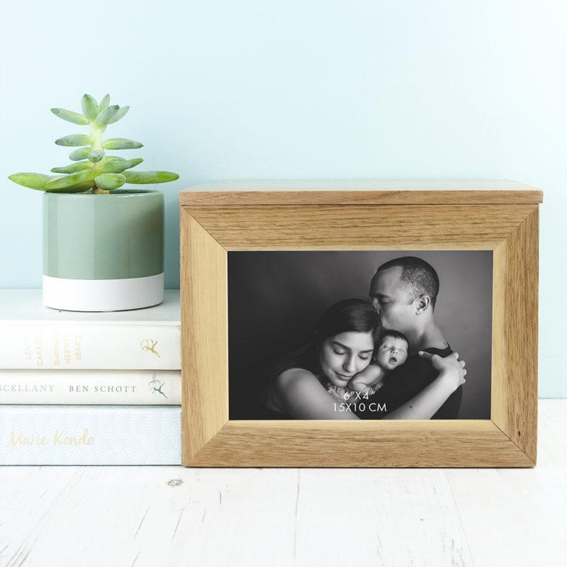 Personalised Midi Oak Photo Cube Keepsake Box