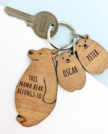 Personalised This Mama Bear Belongs To Keyring Set