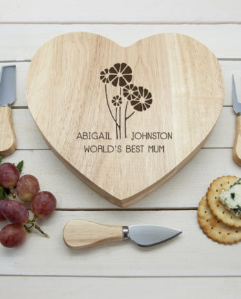 Personalised Worlds Best Mum Heart Wooden Cheese Board Gift
