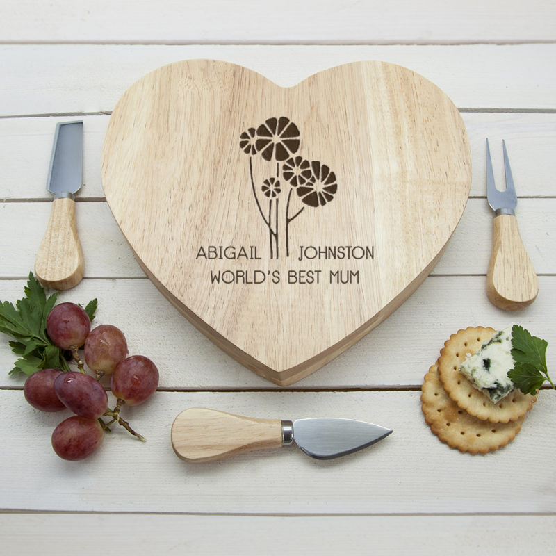 Personalised 'Worlds Best Mum' Heart Wooden Cheese Board