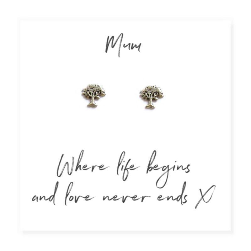 Family Tree Earrings & Sentiments Card For Mum
