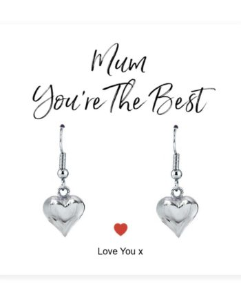'Mum You're The Best' Heart Earrings & Sentiments Card