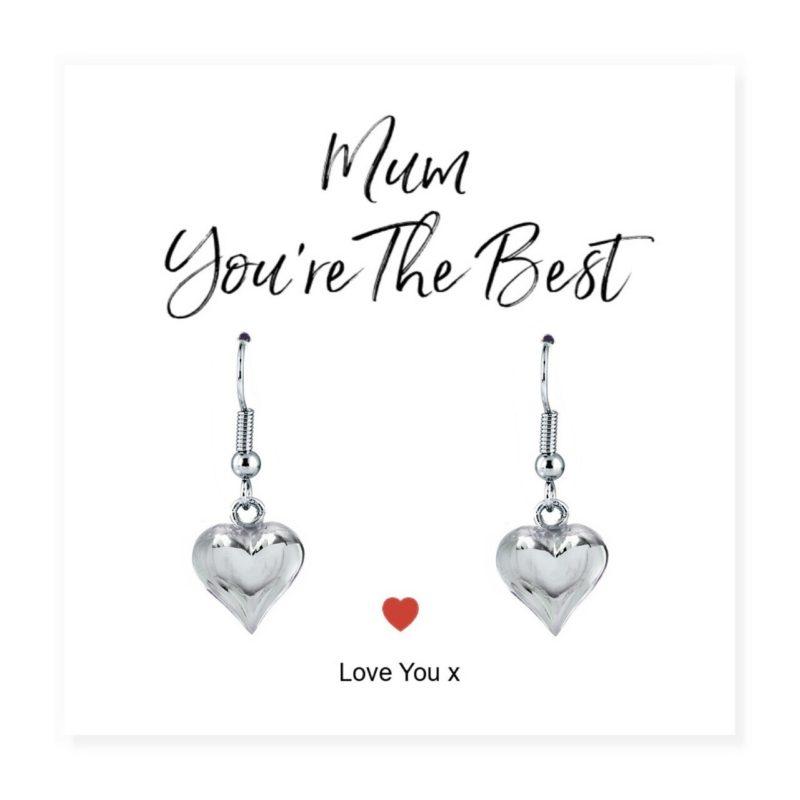 'Mum You're The Best' Heart Drop Earrings & Sentiments Card