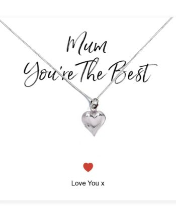 'Mum You're The Best' Heart Necklace & Sentiments Card