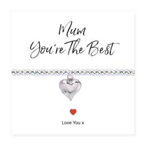 Mum You're The Best Stretch Beaded Bracelet & Card