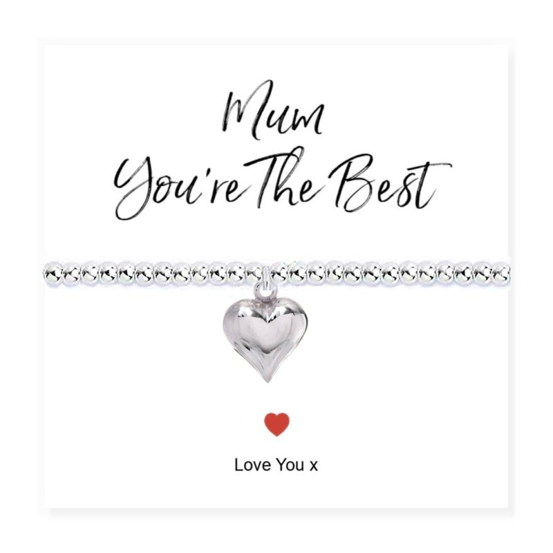'Mum You're The Best' Stretch Beaded Heart Bracelet & Sentiments Card