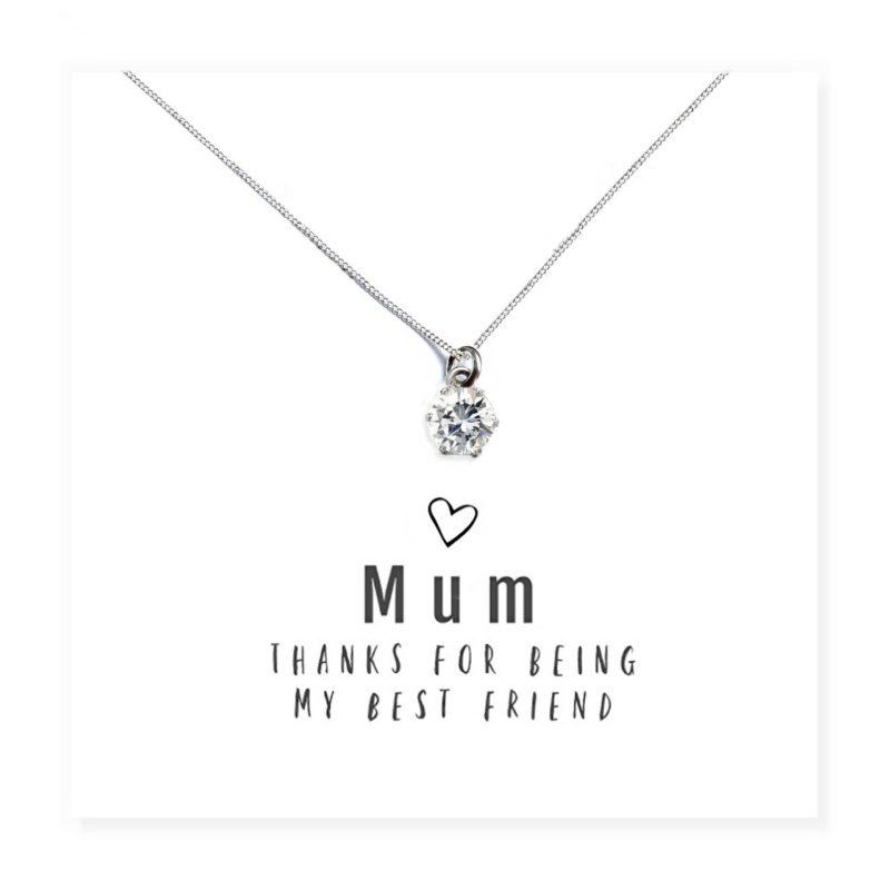'Mum Best Friend' Necklace and Sentiments Card
