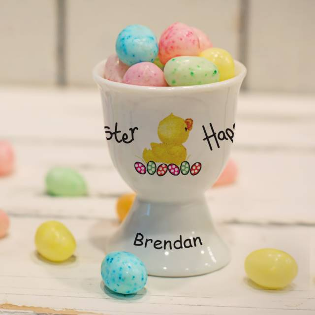 Personalised Easter Chick Bone China Egg Cup