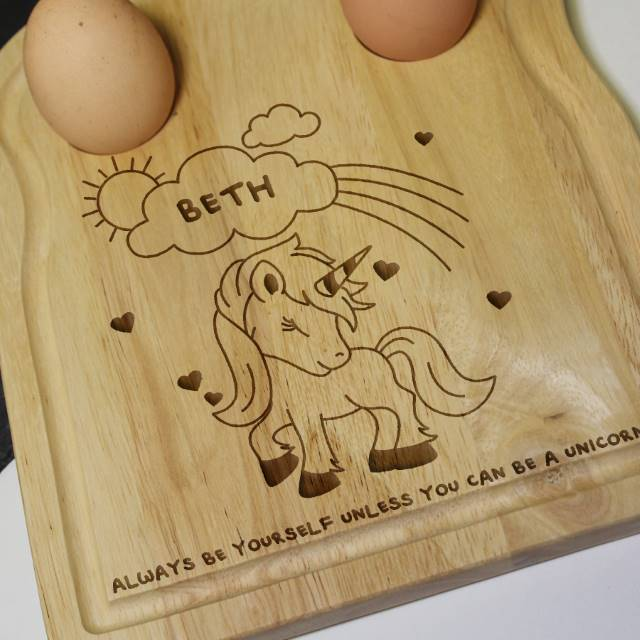 Personalised 'Magical Unicorn' Egg and Soldiers Board