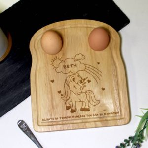 Personalised Magical Unicorn Egg and Soldiers Board