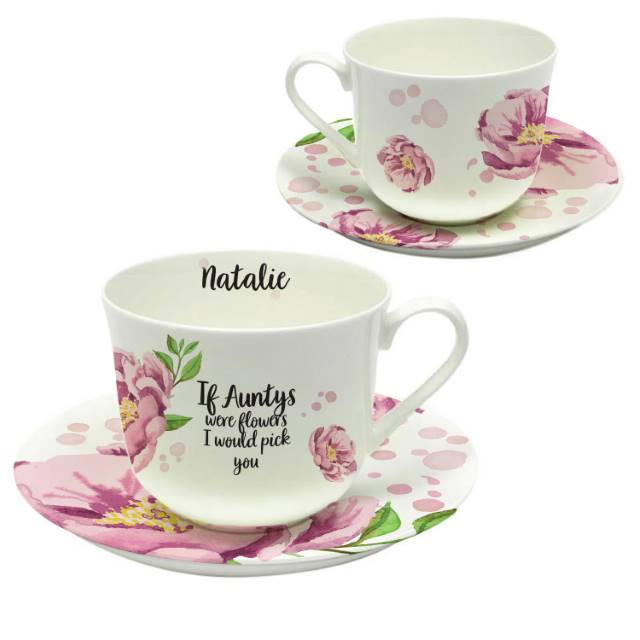 Personalised Floral Sentiments Cup & Saucer