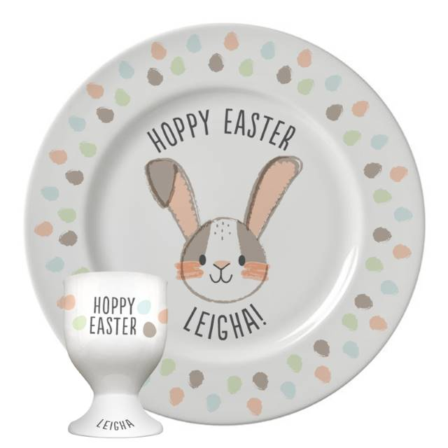 Personalised 'Hoppy Easter' Bone China Plate & Egg Cup