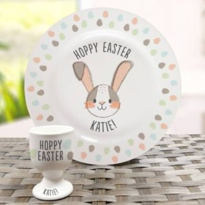 Personalised Hoppy Easter Bone China Plate & Egg Cup