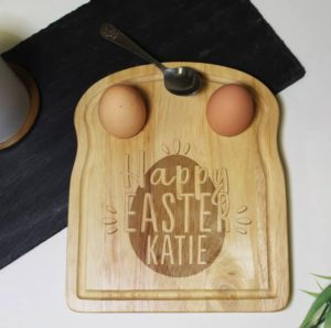 Personalised Happy Easter Egg and Soldiers Board