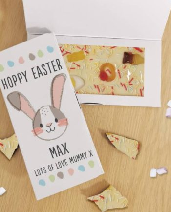 Personalised Hoppy Easter White Chocolate Card