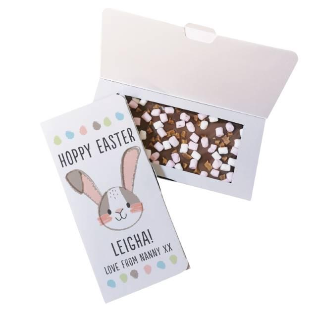 Personalised 'Hoppy Easter' Milk Chocolate Card