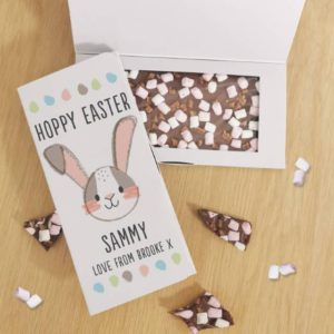 Personalised Hoppy Easter Milk Chocolate Card