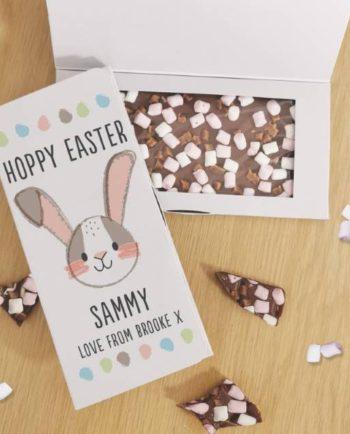 Personalised Hoppy Easter Milk Chocolate Card