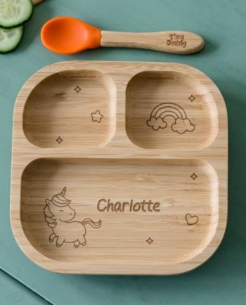 Personalised Unicorn Bamboo Babies Suction Plate & Spoon
