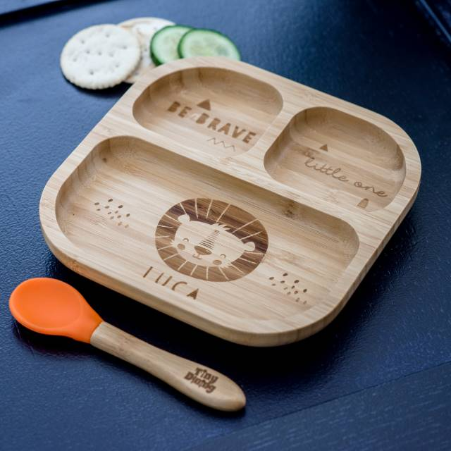 Personalised Lion 'Be Brave' Babies Bamboo Suction Plate & Spoon