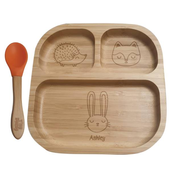Personalised Woodland Animal Bamboo Suction Plate & Spoon